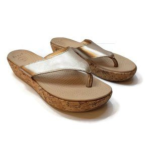 Crocs Womens Cork Wedge Rose Gold Metallic Sandals